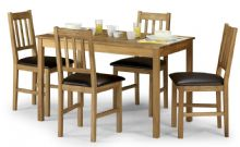 Catalina Rectangular Oak & Brown Faux Leather Dining Set